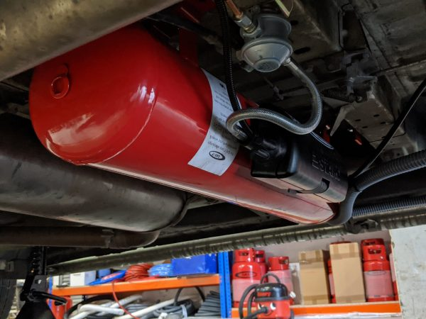 Red Torpedo Refillable LPG Tank System for Campervans and Motorhomes