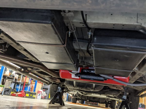 Red Refillable Underbody Tank System For Gas and Water